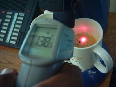 Laser temp gun with coffee