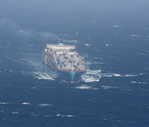 The container ship, Margrethe Maersk, operated by the Maersk Line, steams toward California in May 2010. Photo credit: NOAA