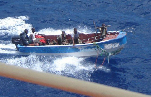 Pirates off the coast of Somalia.  Photo via IMO