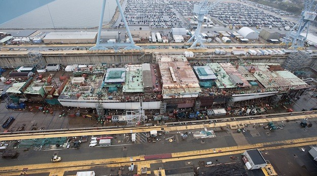 The aircraft carrier Gerald R. Ford (CVN 78) under construction at Newport News Shipbuilding. Photo by Ricky Thompson via Huntington Ingalls Industries