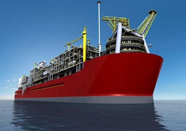 An Illustration of Shell&#039;s Prelude FLNG facility.