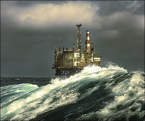 north sea oil platform ocean
