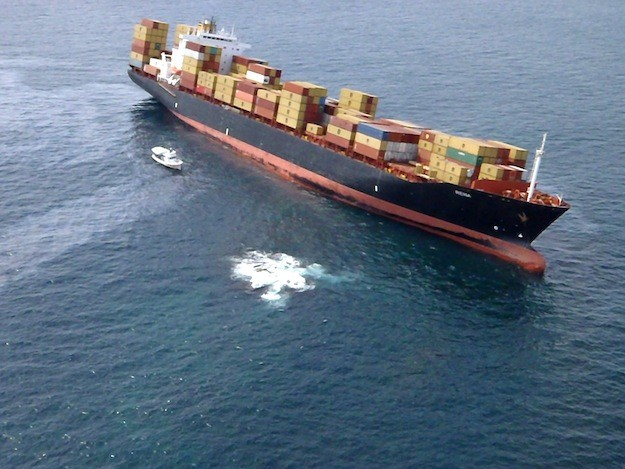 A fly over shot of the M/V Rena grounded on Astrolabe Reef on October 8. Photo: Maritime New Zealand