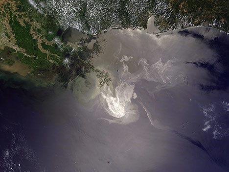 The 2010 oil spill in the Gulf of Mexico as seen from space.