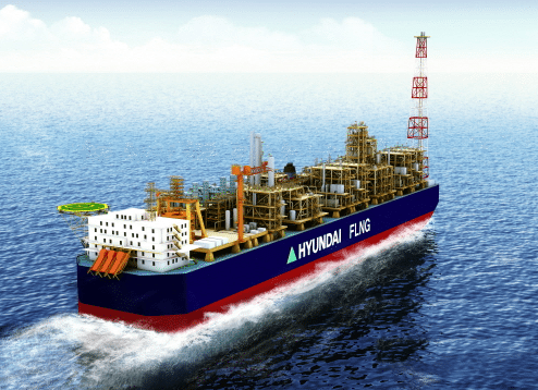 Hyundai FLNG concept model. Illustration: Hyundai Heavy Industries