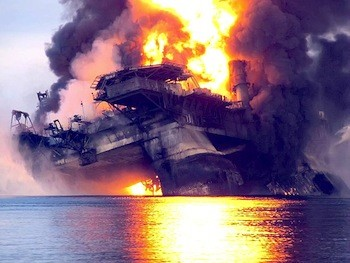 The Deepwater Horizon on fire.