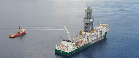 The drillship Ocean Rig Poseidon and support vessels at the Zafarani location.  (Photo: Statoil/Heine Melkevik)
