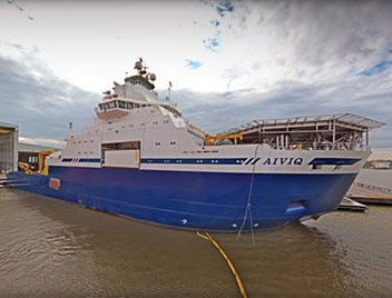 The MV Aiviq in Port Fourchon, Louisiana. Photo: Shell