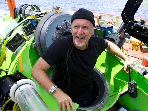 The explorer-filmmaker emerges from his sub after returning from Challenger Deep.  Photograph by Mark Thiessen, National Geographic