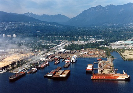 An aerial shot of Seaspan&#039;s Vancouver Shipyards.  Photo: Seaspan Shipyards