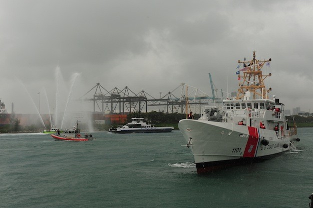 The Coast Guard Cutter Webber arrives at Coast Guard Sector Miami Feb. 9, 2012. (U.S. Coast Guard photo by Petty Officer 3rd Class Sabrina Elgammal.