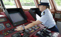 Ensign Melissa McCafferty, the in-port Officer of the Deck on board USCGC Bernard C. Webber