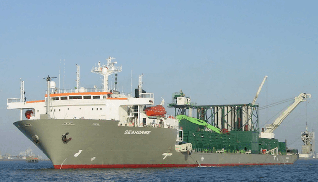 M/V Seahorse is one of two fallpipe vessels owned and operated by Boskalis. The company has a third vessel, the Rockhopper, currenlty under construction.