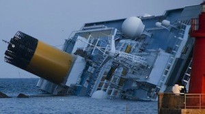 The Costa Concordia pictured on Jan. 14, 2012, just one day after it partially sank in Italy. 
