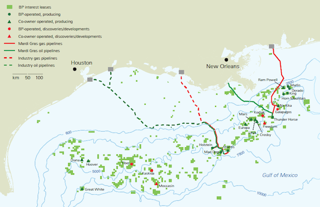 BP has three major operated projects currently under development in the Gulf of Mexico: Galapagos, Na Kika Phase 3 and Mad Dog Phase 2. In addition, BP has equity interest in the Mars B development. Image: BP plc.