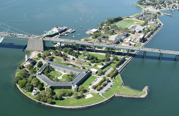 An aerial view of the SUNY Maritime College campus in Throggs Neck, New York
