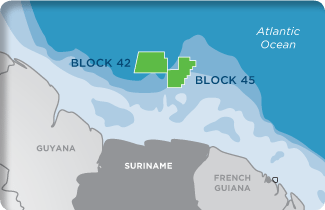 Kosmos has executed agreements over two deepwater blocks, Block 42 and Block 45 offshore Suriname, located on the Northeast coast of South America. The company says it is currently reprocessing existing 2D seismic data, with further plans to acquire new 3D data in 2012/2013. First drilling could take place as early as 2014. Image: Kosmos Energy