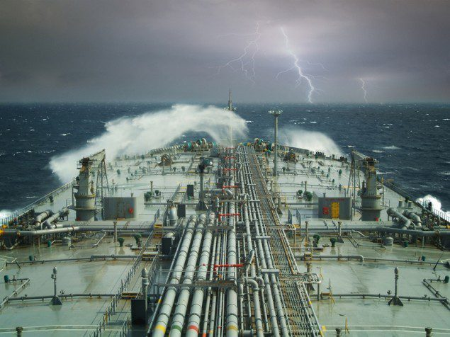 vlcc supertanker crude oil tanker lightning stormy seas