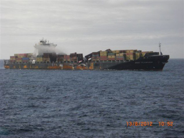 Damage to the MSC Flaminia can be seen as the vessel idled off the coast of the UK for nearly a month after being rocked by two separate explosions.  Image: Reederei NSB.