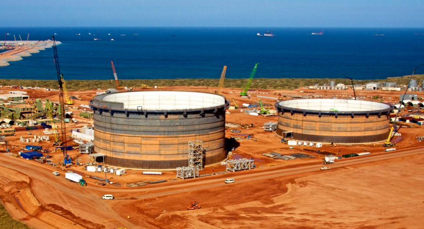 lng storage tanks gorgon chevron