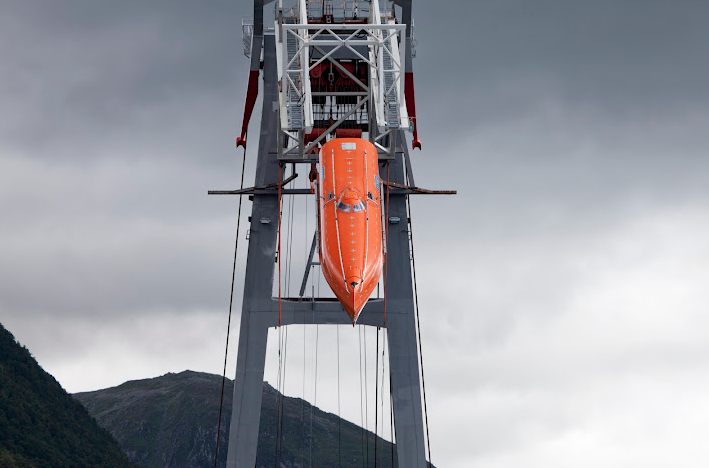 Schat-Harding FF1200 70-person freefall lifeboat set for world record 60 metre drop test. Photo: Arild Lokøy