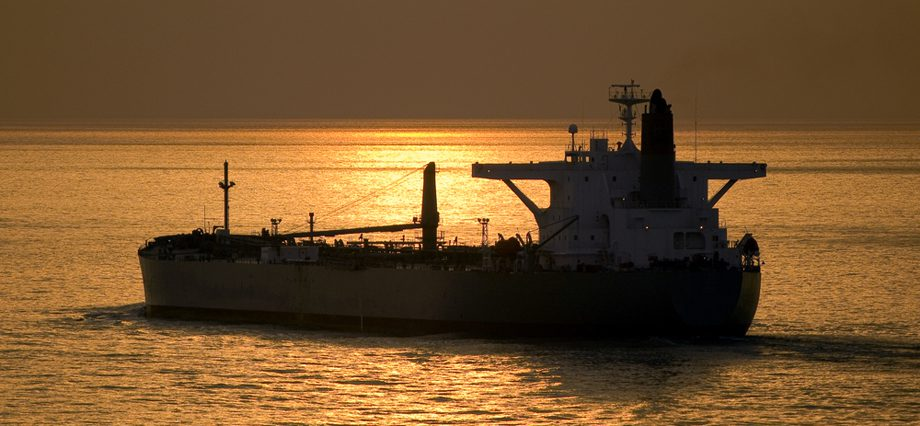 crude oil tanker sunset