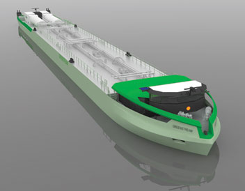 An illustration of the LNG-powered tank barges. Image via Shell