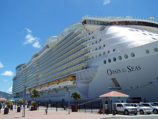 Oasis of the Seas docked at St. Thomas pier.