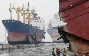 File photo of an Alang shipbreaking facility.