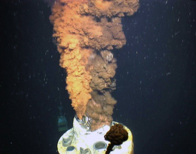 Oil spews from the Macondo well in 2010. (Photo courtesy of U.S. Geological Survey via WHOI)