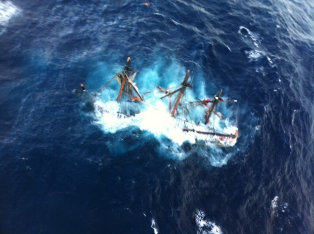 The HMS Bounty, a 180-foot sailboat, shown submerged in the Atlantic Ocean during Hurricane Sandy approximately 90 miles southeast of Hatteras, N.C. U.S. Coast Guard photo by Petty Officer 2nd Class Tim Kuklewski.