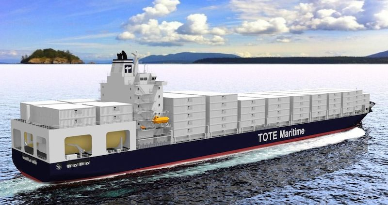 An artist's rendering of new TOTE ships. Image: General Dynamics NASSCO