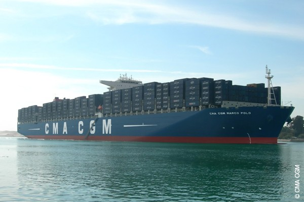 CMA CGM Marco Polo transiting the Suez Canal on December 1, 2012.