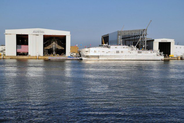 USNS Spearhead, pictured above at Austal USA, is the first of the Navy&#039;s joint high-speed vessels. The ship was delivered to the Navy Dec. 5. Photo courtesy of Austal USA