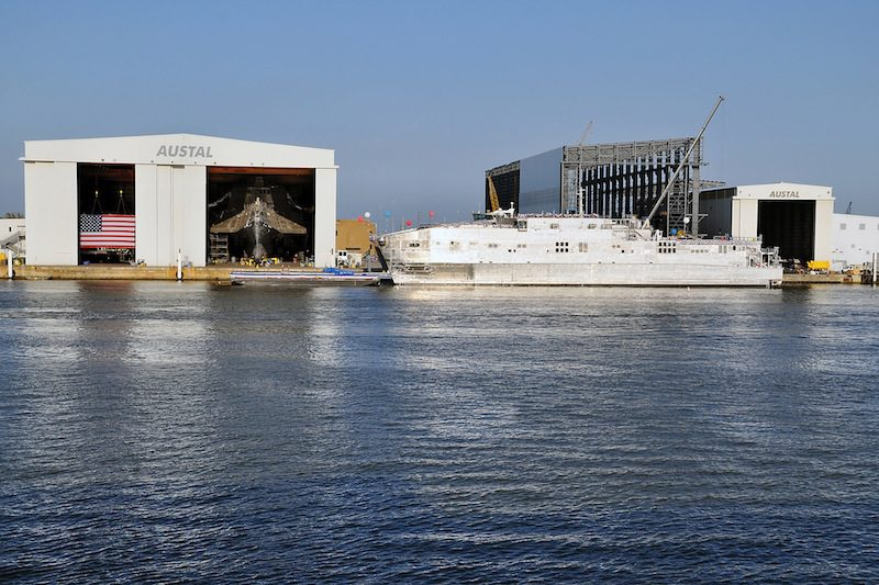 USNS Spearhead, pictured above at Austal USA, is the first of the Navy's joint high-speed vessels. The ship was delivered to the Navy Dec. 5. Photo courtesy of Austal USA