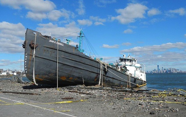 The John B Caddell pictured on November 3, 2012, just a few days after Hurricane Sandy past.