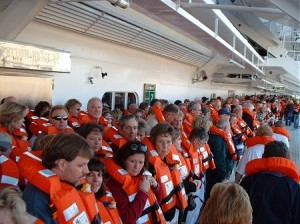 A muster drill aboard a cruise ship.
