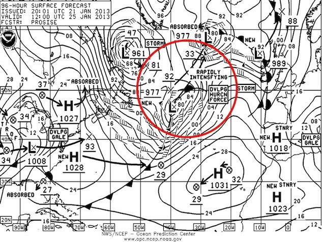 NOAA OPC Surface Forecast 12Z 25 January 2013 showing developing hurricane force storm