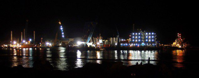 costa concordia night salvage operations