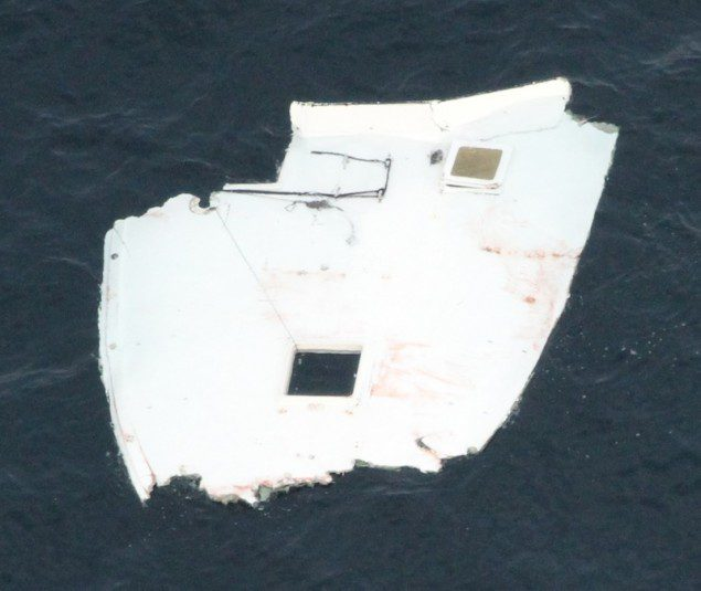 A piece of boat found in the debris field. US Coast Guard Photo
