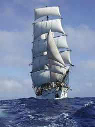 Picton Castle under full sail.