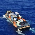 "The barge Atlantic Trader seen with its cargo toppled ""like a bunch of dominoes."" U.S. Coast Guard Photo"