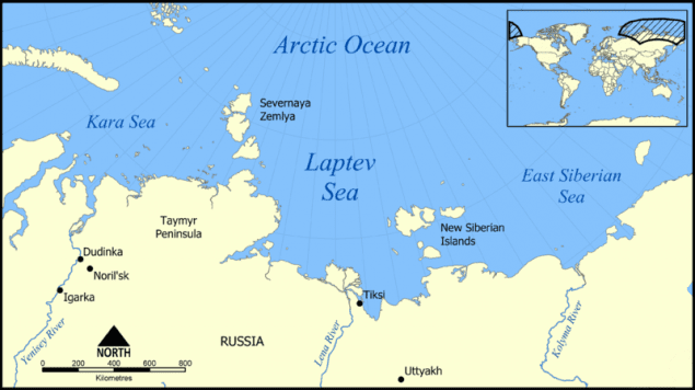 laptev sea map arctic