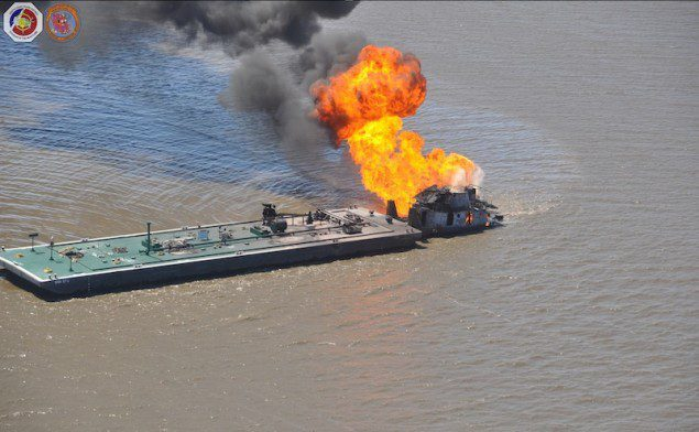Coast Guard responds to allision, tug fire south of New Orleans