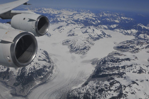 A British Columbia glacier is seen from NASA's DC-8 ASCENDS II flight in this August 2011 handout photo courtesy of the agency. EUTERS/NASA/E.Shaller/ASCENDS II /Handout