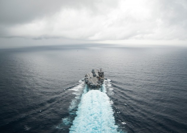 Aircraft carrier USS Enterprise (CVN 65) transits the Atlantic Ocean on the ship's 22nd and final deployment, March 19, 2012. US Navy Photo