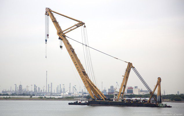 The Asian Hercules crane barge has a 1600MT lifting capacity. (c) R.Almeida/gCaptain
