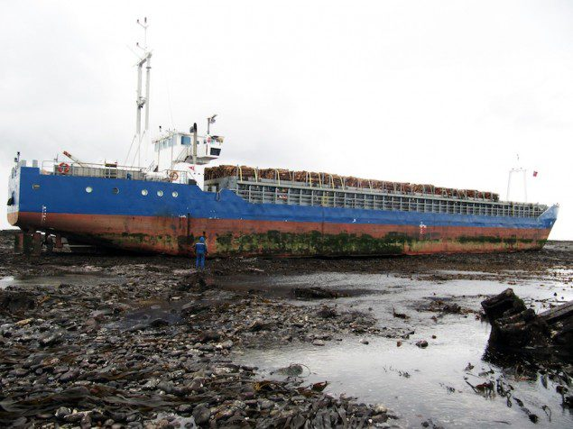 Danio aground on . Image courtesy Titan Salvage.