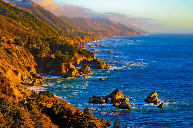 California coast at sunset. Image via Shutterstock