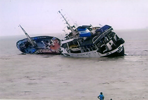 The capsized Myan-Aung